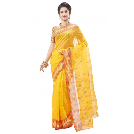 Slice Of Bengal Cotton Taant Tangail Saree With Broad Border (Yellow)