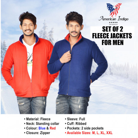 American Indigo Men's Red & Blue Solid Winter Jackets (Pack Of 2)