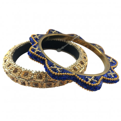 Mistral Of Milan Ethnic Design Metal Bangles Set (Set of 2 Pcs) [Gold-Blue]