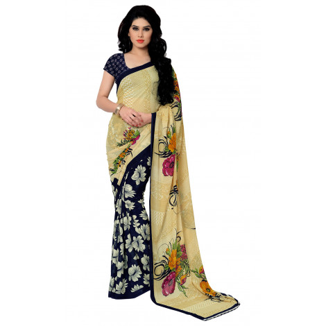Triveni Cream Faux Georgette Printed Saree with Unstitched Blouse