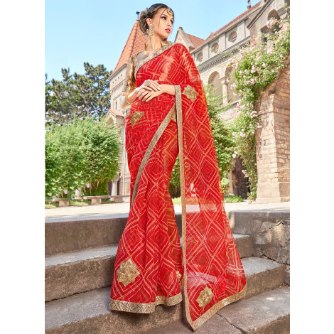 Triveni Rangvarsha Supernet Printed Saree (Red)