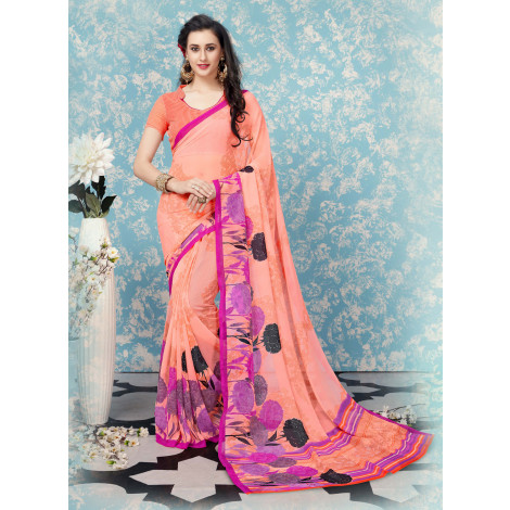 Triveni Faux Georgette Printed Saree (Peach)