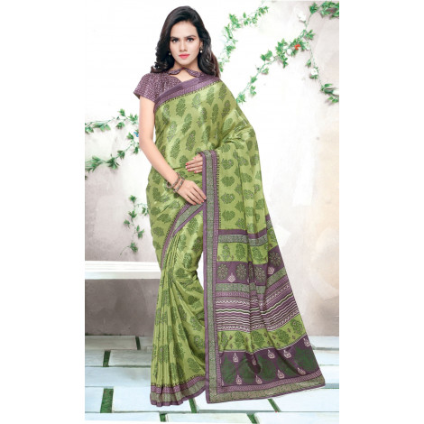 Triveni Green Jute Silk Printed Saree with Unstitched Blouse