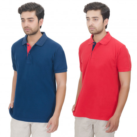 Men's Solid Half Sleeves Polo T-shirts Combo (Blue & Red)