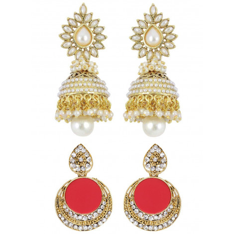 Grand Jewels Alloy Pearls Studded & Antique Earrings Combo Sets