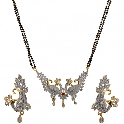 Grand Jewels Gold Plated Peacock Shaped American Diamond Mangalsutra Pendant With Chain & Earrings