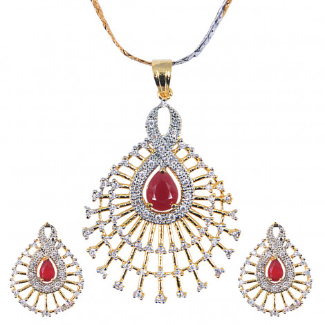 Grand Jewels Alloy Gold Plated American Diamond Pendant Set With Chain & Earrings