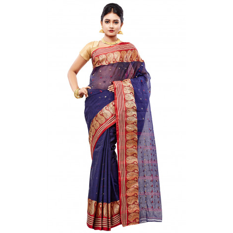 Women's Slice Of Bengal Cotton Taant Tangail Saree (Navy)