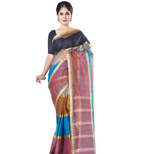 Slice of Bengal Multicolored Handloom Taant Tangail Saree
