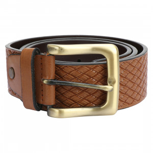 Leather Club PU Single Side Casual Belt For Men (Tan)