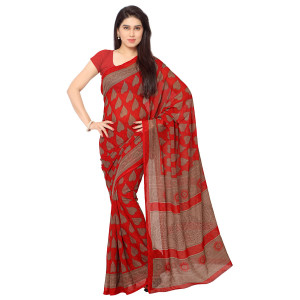 Triveni Red Faux Georgette Printed Saree with Unstitched Blouse