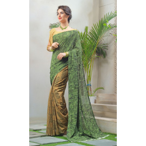 Triveni Green & Beige Faux Georgette Printed Saree with Unstitched Blouse