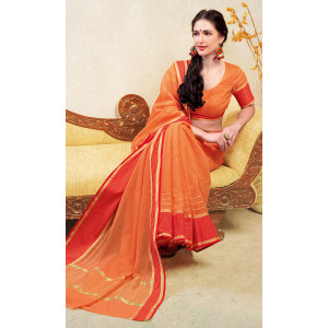 Triveni Orange & Red Cotton Blend Woven Saree with Unstitched Blouse