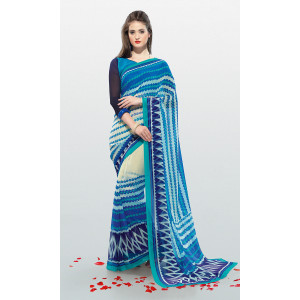 Triveni Blue Chiffon Printed Saree with Unstitched Blouse
