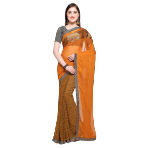 Triveni Faux Georgette Printed Traditional Casual Wear Saree (Turmeric)