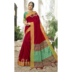 Triveni Maroon & Green Cotton Silk Woven Saree with Unstitched Blouse