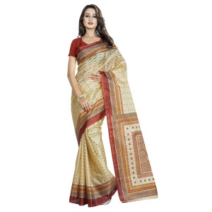 Triveni Beige Art Silk Printed Saree