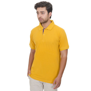 Men's Solid Half Sleeves Polo T-shirt (Mustard)
