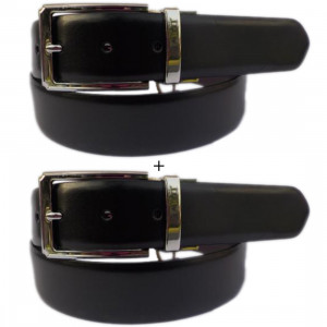 Leather Club PU Reversible Black & Brown Faux Leather Belt (Pack Of 2)