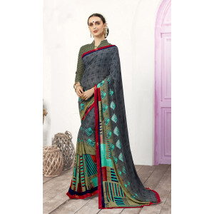 Triveni Grey & Beige Georgette Saree with Unstitched Blouse Piece