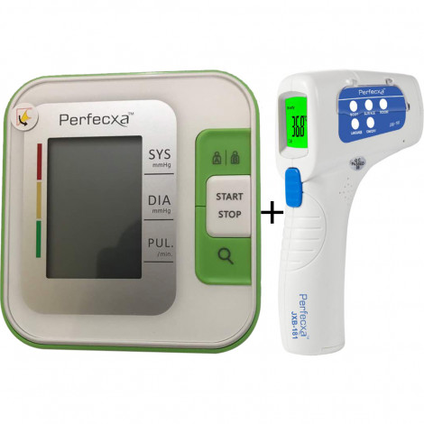 Perfecxa Full Automatic BP Monitor With Adaptor + Perfecxa JBX 181 Thermometer Combo