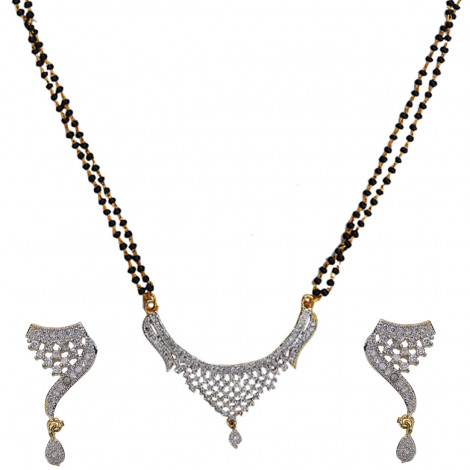 Grand Jewels Alloy Gold & Rhodium Plated American Diamond Mangalsutra Pendant With Chain & Earrings