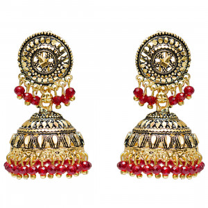 Grand Jewels Alloy Gold Plated Jhumki Earrings (Red)